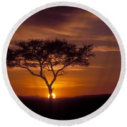 Dawn On The Masai Mara Round Beach Towel