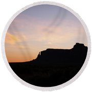 Dawn Over Monument Valley Round Beach Towel