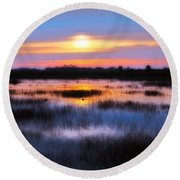 Dawn Over The Salt Marsh Round Beach Towel