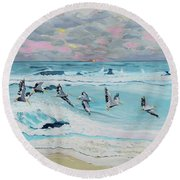 Dawn Pelicans Round Beach Towel