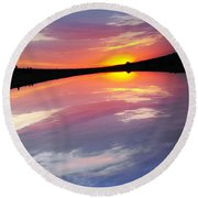 Dawn Sky And Water Round Beach Towel