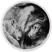 Dawn's A Coming Open Your Eyes - Lions Round Beach Towel