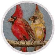 Dawn's Cardinals Round Beach Towel