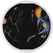 Day And Night Round Beach Towel