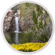 Day At The Falls Round Beach Towel