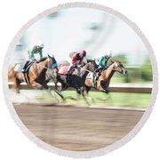 Day At The Races Round Beach Towel