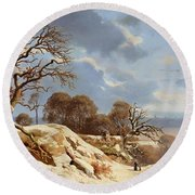 Day By The Baltic Sea Round Beach Towel