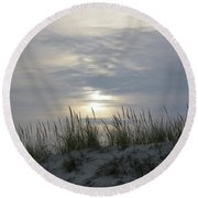 Day Fades Behind The Dunes Round Beach Towel