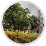 Day Lilies By A Church  Round Beach Towel