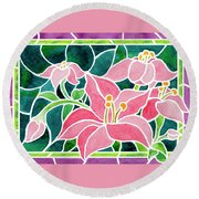 Day Lilies In Stained Glass Round Beach Towel