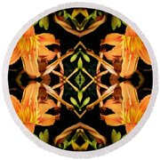 Day Lily Square Dance Round Beach Towel