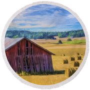 Day Of August Round Beach Towel