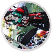 Day Of The Dead Car Trunk Skeleton  Round Beach Towel