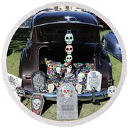 Day Of The Dead Classic Car Trunk Display  Round Beach Towel
