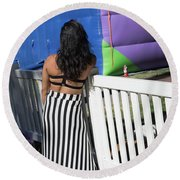 Day Of The Dead End Of Day  Round Beach Towel