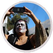 Day Of The Dead Iphone Woman Round Beach Towel