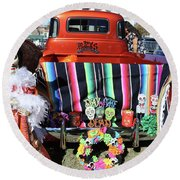 Day Of The Dead Truck Decorations  Round Beach Towel