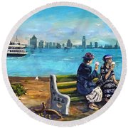 Day Off At The Island Round Beach Towel