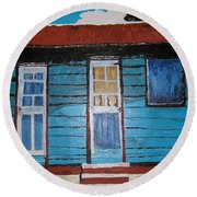 Daydreaming Blues Round Beach Towel
