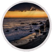 Days End At El Matador Round Beach Towel