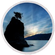 Day's End At Siwash Rock Round Beach Towel