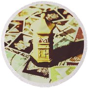 Days From The Vintage Post Office Round Beach Towel