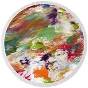 Days Gone By- Abstract Art By Linda Woods Round Beach Towel