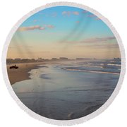 Daytona Beach At Sunset, Florida Round Beach Towel