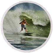 Daytona Beach Surfing Day Round Beach Towel