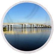 Daytona Beach's Broadway Bridge  Round Beach Towel