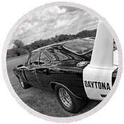 Daytona Charger In Black And White Round Beach Towel