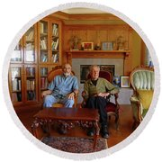 Db6362 Ed Cooper With Fred Beckey In Library 2013 Round Beach Towel