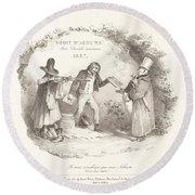 D?bit D'albums Avec Proc?d?s Nouveaux (new Methods For The Sale Of Lithograph Albums) Round Beach Towel