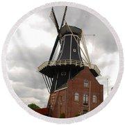 De Adriann Windmill - Haarlem The Netherlands Round Beach Towel