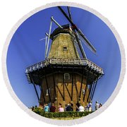 De Zwaan Windmill In Holland Round Beach Towel