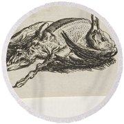 Dead Duck, Jacob Elias Van Varelen, After Jacob De Gheyn II, 1821 Round Beach Towel