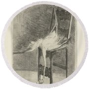 Dead Flamingo With The Legs Tied To The Handrail Of A Chair, Adriaan Pit, 1870 - 1896 Round Beach Towel