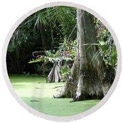 Wild Florida Dead Mans River Round Beach Towel