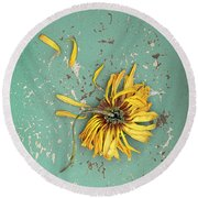 Dead Suflower Round Beach Towel