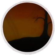 Dead Tree Under The Sunset Round Beach Towel
