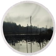 Dead Tree Waters Round Beach Towel