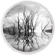 Dead Trees Bw Round Beach Towel