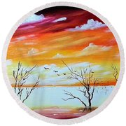 Dead Trees Reflection Round Beach Towel