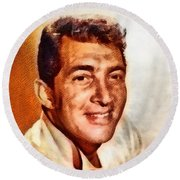 Dean Martin, Hollywood Legend By John Springfield Round Beach Towel