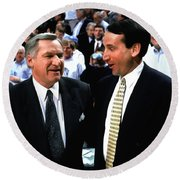 Dean Smith And Mike Krzyzewski Round Beach Towel