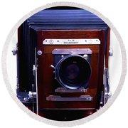 Deardorff 8x10 View Camera Round Beach Towel by Joseph Mosley