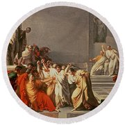 Death Of Julius Caesar Round Beach Towel by Vincenzo Camuccini