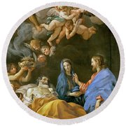 Death Of Saint Joseph Round Beach Towel