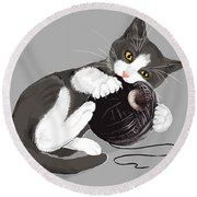 Death Star Kitty Round Beach Towel by Olga Shvartsur