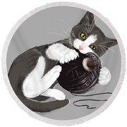 Death Star Kitty Round Beach Towel by Olga Shvartsur